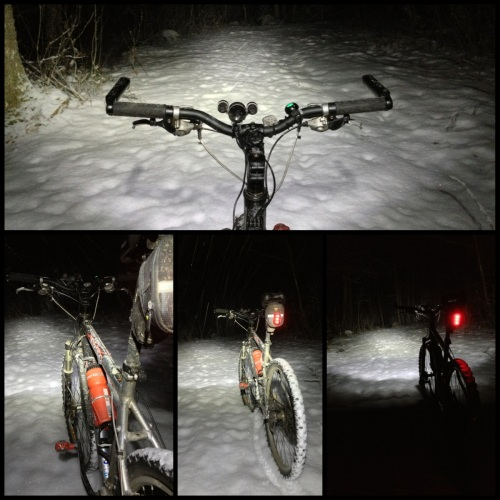 Snowy night ride
